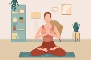 Lady on floor doing yoga